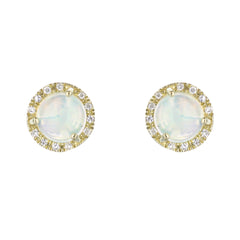 Opal Diamond Halo Studs in Yellow Gold
