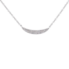 Crescent Shaped Pave Diamond Necklace in White Gold