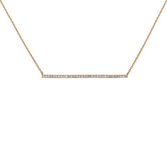 Large Diamond Bar Necklace in Rose Gold
