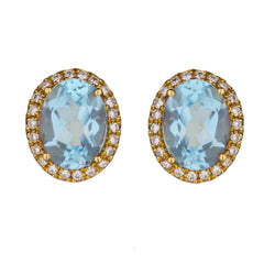 Oval Aquamarine Stud Earrings in Yellow Gold