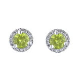 Peridot Stud Earrings with Diamond Halo