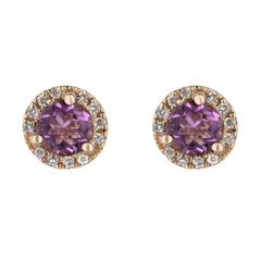 Pink Amethyst Stud Earrings with Diamond Halo
