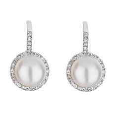 Pearl Diamond Drop Huggie Earrings