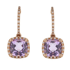Pink Amethyst Diamond Halo Huggie Drop Earrings in Rose Gold