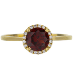 Garnet And Diamond Halo Yellow Gold Ring