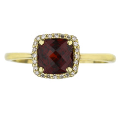 Cushion Cut Garnet And Diamond Halo Ring
