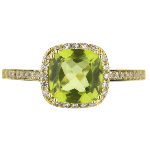 Peridot And Diamond Halo Ring in Yellow Gold
