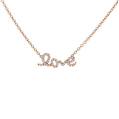 Monogram Love Pave Diamond Necklace in Rose Gold