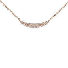 Crescent Shaped Pave Diamond Necklace in Rose Gold