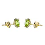 Peridot Stud Earrings with Diamond Halo in Yellow Gold