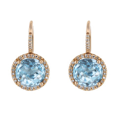 Blue Topaz Diamond Halo Huggie Drop Earrings in Rose Gold