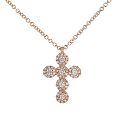Diamond Halo Cross Pendant in Rose Gold