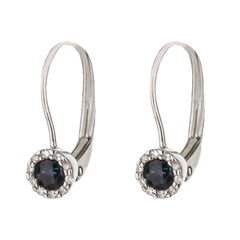 Blue Sapphire Diamond Halo Huggie Earrings