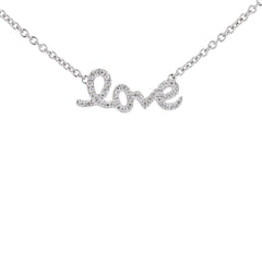 Monogram Love Pave Diamond Necklace in White Gold