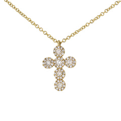 Diamond Halo Cross Pendant in Yellow Gold