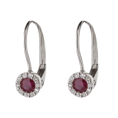 Ruby Diamond Halo Huggie Earrings