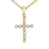 Diamond Cross Pendant in Yellow Gold