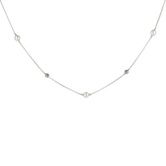 Pearl and Diamond Alternating Necklace in White Gold