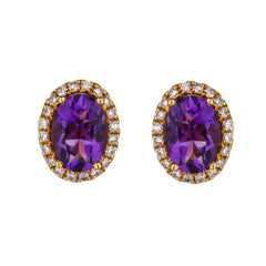 Oval Amethyst and Diamond Halo Stud Earrings