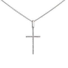Diamond Cross Pendant in White Gold