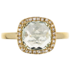 Green Amethyst Diamond Halo Ring In Yellow Gold