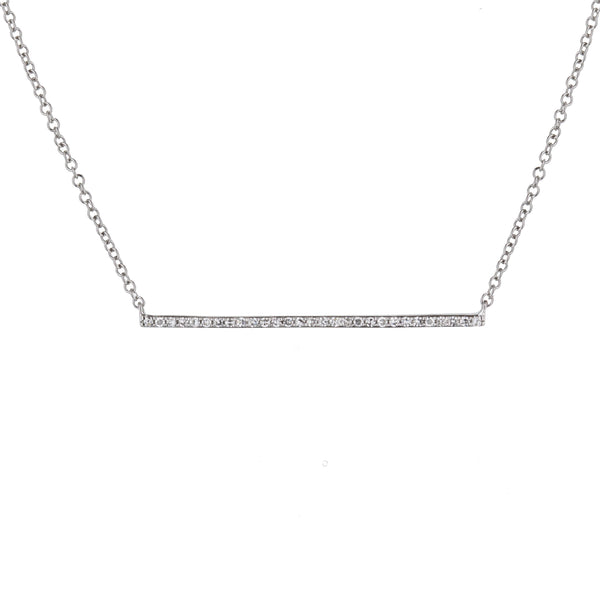 Diamond Bar Necklace in White Gold