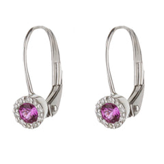 Pink Corundum Sapphire Diamond Halo Huggie Earrings