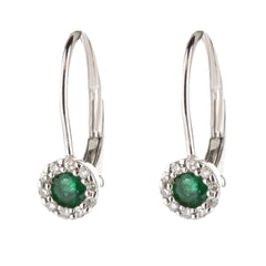 Emerald Diamond Halo Huggie Earrings