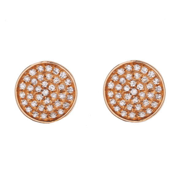 Pavé Diamond Stud Earrings With Rose Gold