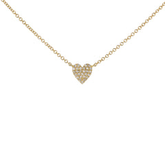 Pave Diamond Heart Necklace in Yellow Gold