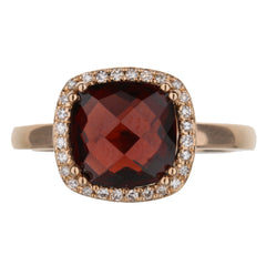 Garnet Diamond Halo Ring In Rose Gold