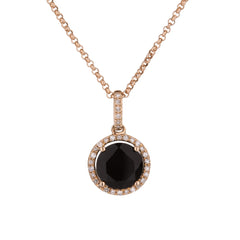 Black Agate Diamond Halo Pendant in Rose Gold