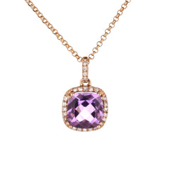 Amethyst Diamond Halo Pendant in Rose Gold