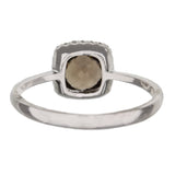 Cushion Cut Smoky Topaz And Diamond Halo Ring in White Gold