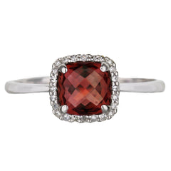 Cushion Cut Garnet And Diamond Halo Ring in White Gold