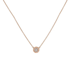 14k Rose Gold Diamond Cluster Pendant Necklace