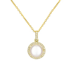 Pearl Diamond Halo Pendant in Yellow Gold