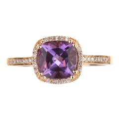 Amethyst And Diamond Halo Ring in Rose Gold