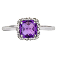 Cushion Cut Amethyst And Diamond Halo Ring