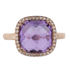 Amethyst Diamond Halo Ring in Rose Gold