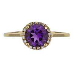 Amethyst And Diamond Halo Yellow Gold Ring