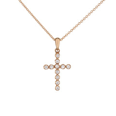 Diamond Cross Pendant in Rose Gold
