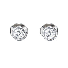 Bezel Set Diamond Martini Style Stud Earrings in 14k White Gold