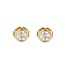 Bezel Set Diamond Martini Style Stud Earrings in 14k Yellow Gold