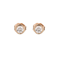 Bezel Set Diamond Martini Style Stud Earrings in 14k Rose Gold