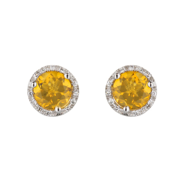 Citrine Stud Earrings with Diamond Halo
