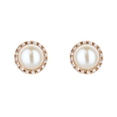Pearl Stud Earrings With Diamond Halo in Rose Gold