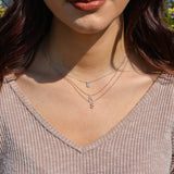 diamond initial necklace with chain