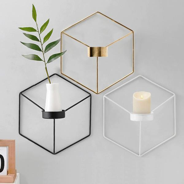 Holder - 3D Geometric Wall Candle Holder (Various Colors)