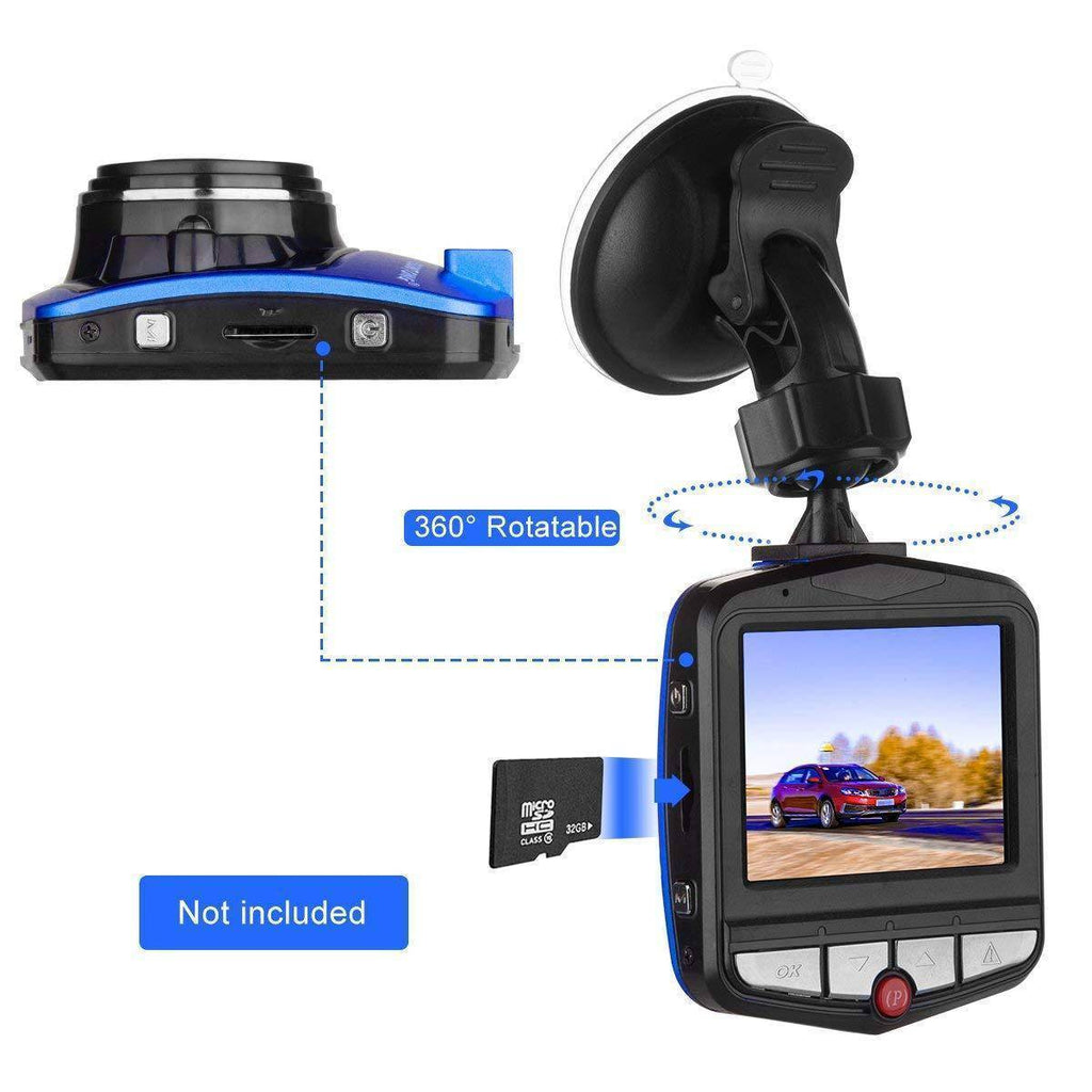"DVR/Dash Camera - Dash Cam, Mini Car Dashboard Camera, Full HD 1080P 2.31"" Screen 140 Degree Wide Angle Lens Vehicle On-Dash Video Recorder With Night Vision, G-Sensor, Parking Monitoring, Loop Recording(Blue)(Black)"
